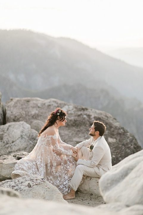 Wedding vows on the top of Taft Point