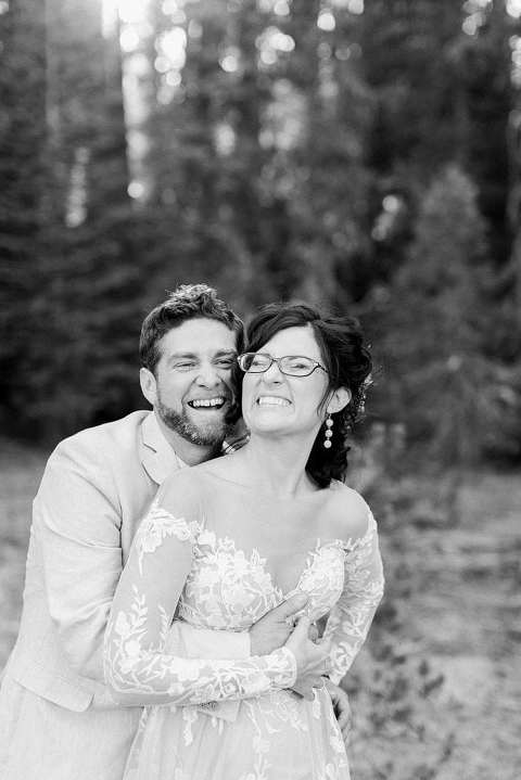 Couple being silly in Yosemite wedding photo