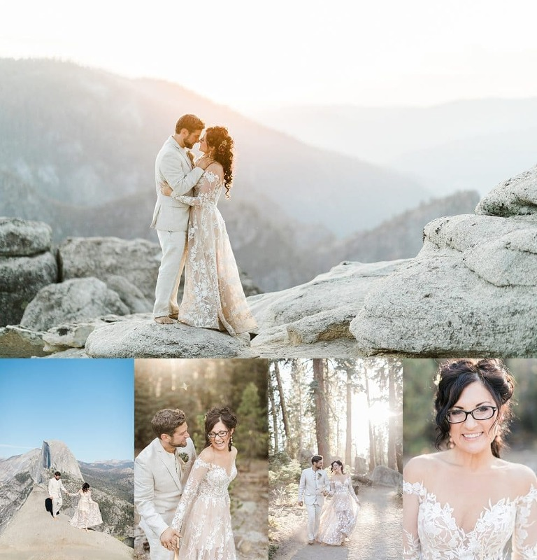 Yosemite Elopement Photographer taking pictures at sunset at Taft Point