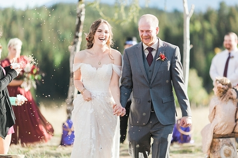 Birdseed at wedding recessional