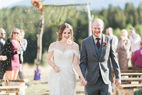 Birdseed at wedding recessional