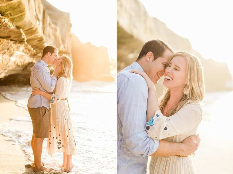 Couple kissing on the beach for La Jolla elopement photos