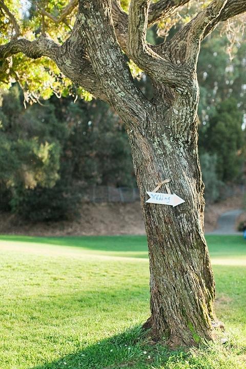wedding sign on tree california