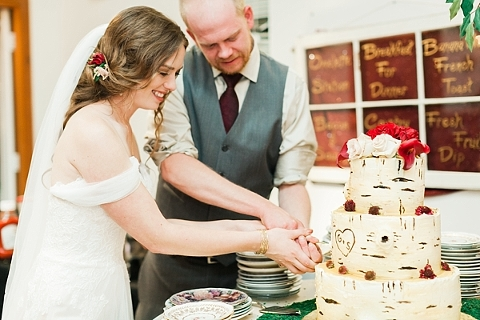 Cutting the woodland design cake