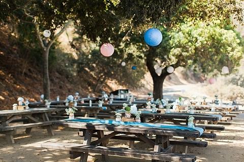 outdoor bay area wedding reception