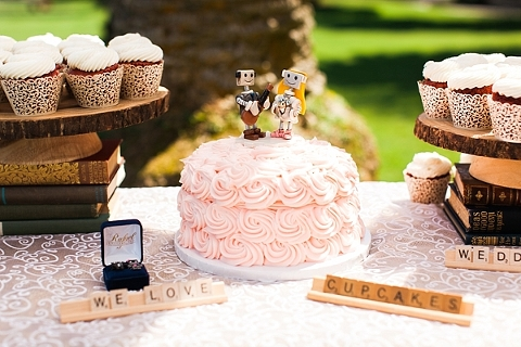 robot wedding cake topper