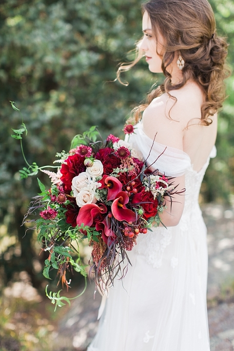 Amazing cascading over the arm bouquet
