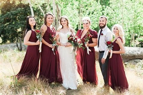 Bridesmaids & Brides-man in burgundy