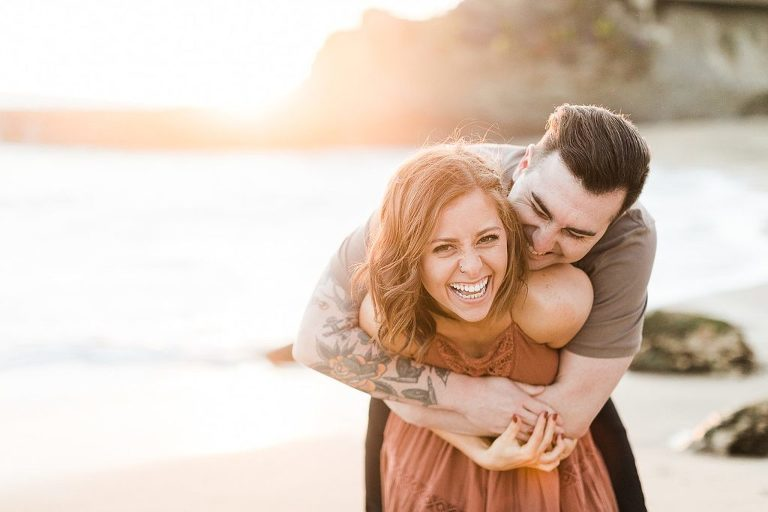 Gorgeous california elopement location, Laguna Beach with couple on the beach at sunset