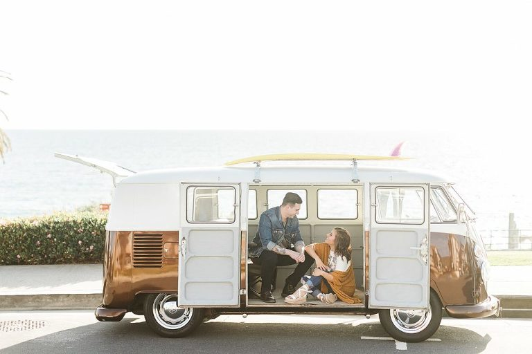 Laguna Beach is an awesome elopement location because of it's VW buses and restaurants