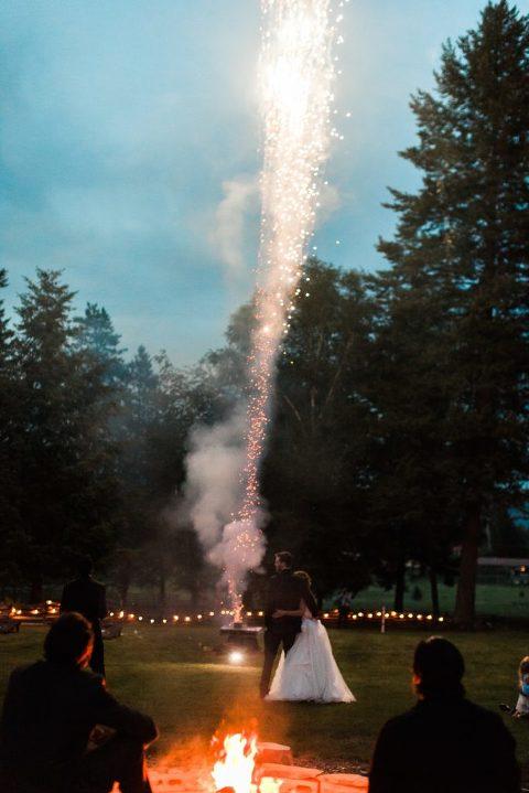 Backyard Fireworks Wedding