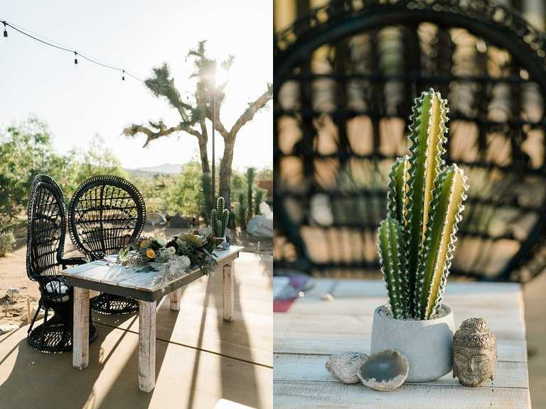 Sweetheart table for elopement in Joshua Tree National Park