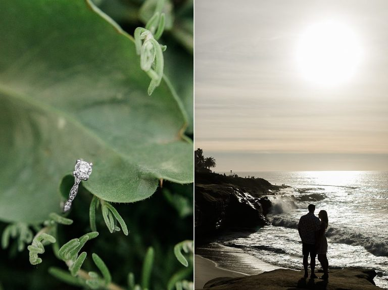 Engagement pictures at Wipeout Beach, La Jolla, CA