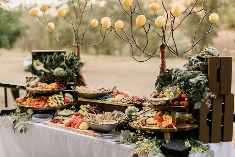 Vegan catering at boho wedding reception at Serenity Rustic Retreat at Mill Creek