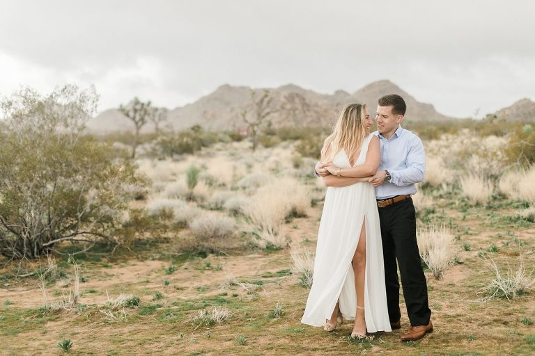 Engagement Pictures in Joshua Tree on a cloudy day