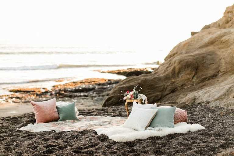 Boho elopement Inspiration at Rodeo beach in Marin Headlands