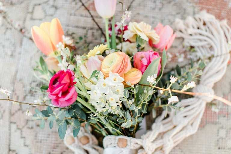 Spring flowers at beach wedding