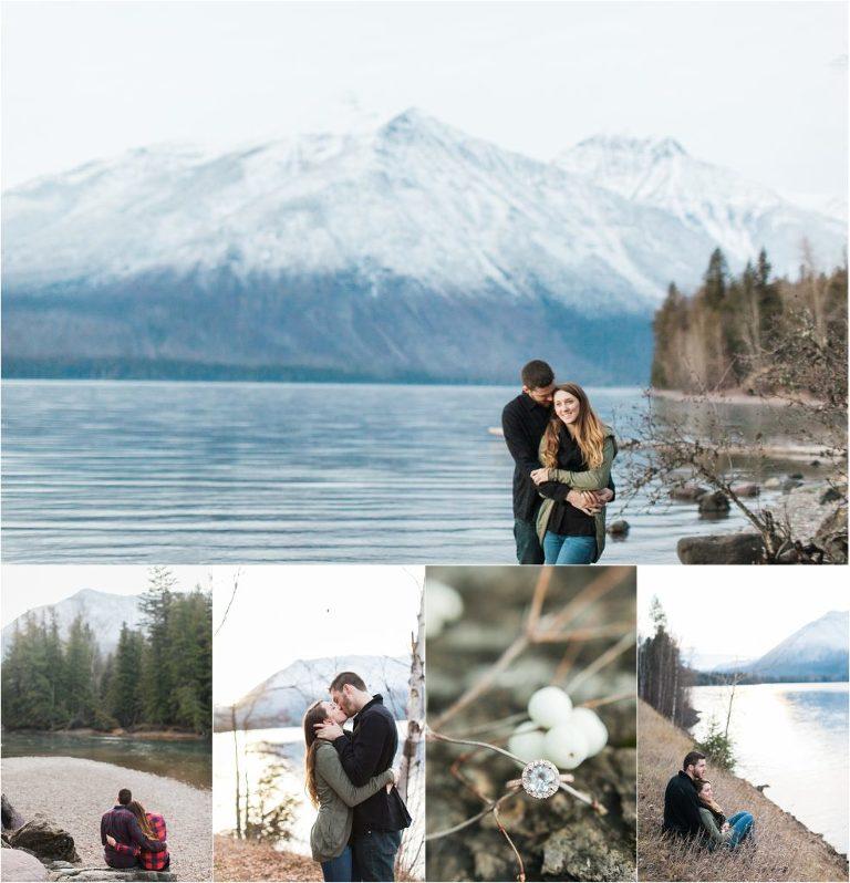 Glacier National Park Engagement Session | Lake McDonald in Winter | Destination Engagement Session