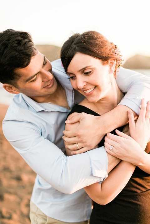 Rodeo Beach engagement session photo at sunset