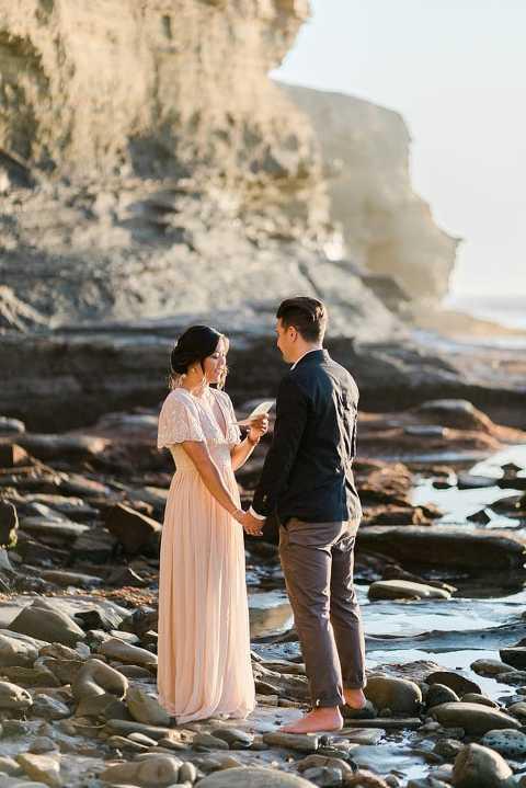 elopement wedding ceremony at sunset cliffs park in San Diego