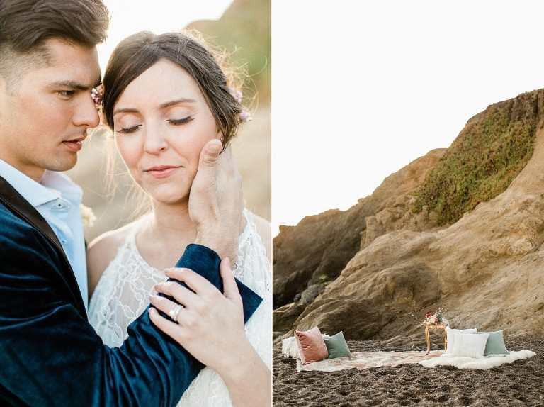 Boho beach elopement at sunset