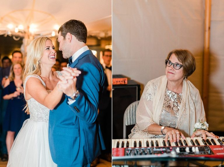 Mother of the Bride playing piano for first dance song